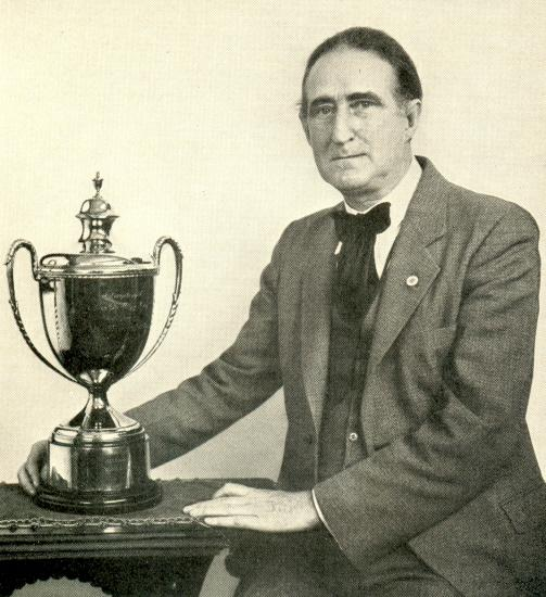 A portrait of Frank Marshall with the Hamilton-Russell Cup was the frontispiece of Marshall's Comparative Chess (Philadelphia, 1932)
